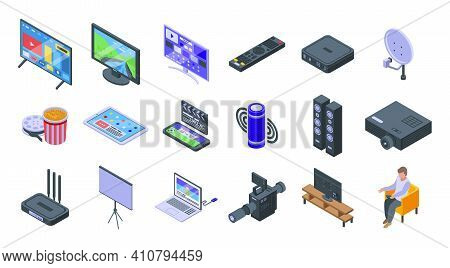 Interactive Tv Icons Set. Isometric Set Of Interactive Tv Vector Icons For Web Design Isolated On Wh