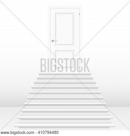 Straight Stairway Leading To Closed Door. White Wooden Door And Stairs. Concept Of Success. Mockup T