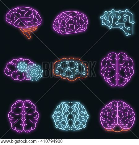 Memory Brain Icon Set. Outline Set Of Memory Brain Vector Icons Neon Color On Black
