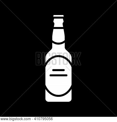 Beer Glass Dark Mode Glyph Icon. Alcoholic Drink. Alcohol In Bottle. Party Beverage. Pub Menu. Bottl