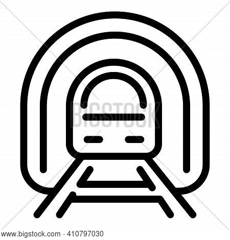Train In Tunnel Icon. Outline Train In Tunnel Vector Icon For Web Design Isolated On White Backgroun