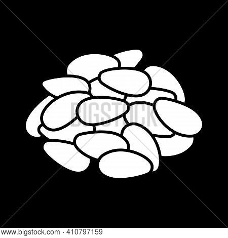 Sunflower Seeds Dark Mode Glyph Icon. Pine Nuts. Nutrient Dietary Food. Cookery Ingredient. Grocery