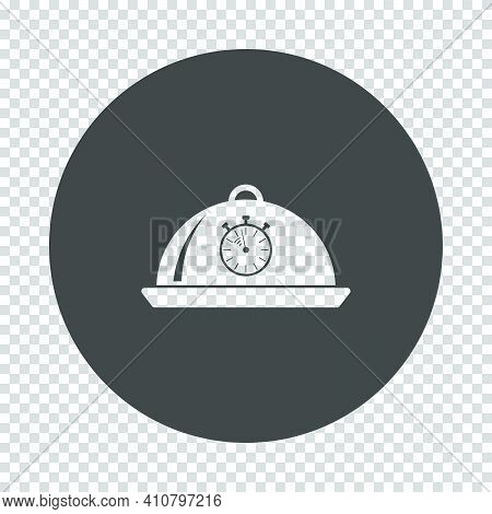 Cloche With Stopwatch Icon. Subtract Stencil Design On Tranparency Grid. Vector Illustration.