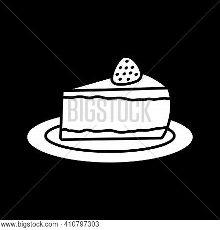 Cheesecake On Plate Dark Mode Glyph Icon. Cake Slice. Sweet Dessert With Strawberry. Cafe Food. Deli