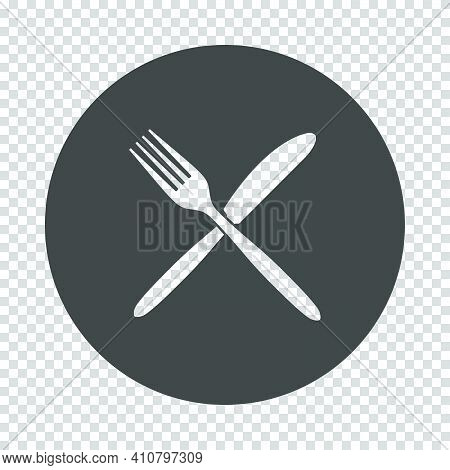 Fork And Knife Icon. Subtract Stencil Design On Tranparency Grid. Vector Illustration.