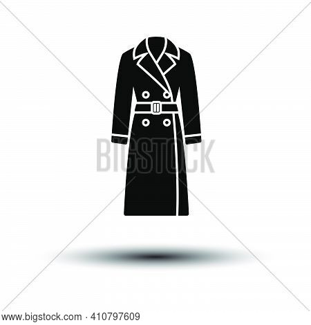 Business Woman Trench Icon. Black On White Background With Shadow. Vector Illustration.