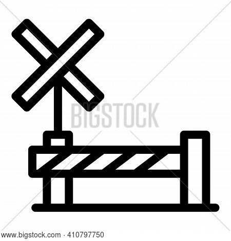 Railroad Barrier Icon. Outline Railroad Barrier Vector Icon For Web Design Isolated On White Backgro