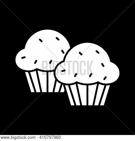 Muffins Dark Mode Glyph Icon. Sweet Cupcakes With Raisins. Dessert And Pastry. Baked Goods. Unhealth