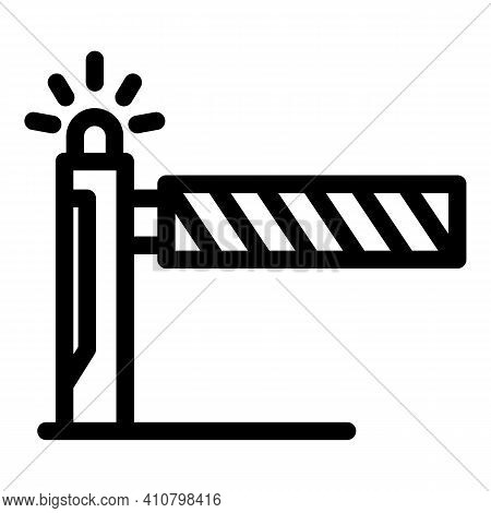 Warning Railroad Barrier Icon. Outline Warning Railroad Barrier Vector Icon For Web Design Isolated