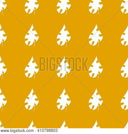 White Leaves On Goldenrod Background Simple Seamless Pattern Vector. Sunny Yellow Positive Summer Se