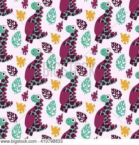 Dinosaur And Leaves Seamless Pattern Stock Vector Illustration. Cartoon Friendly Dino And Monstera L