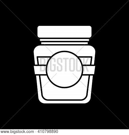 Glass Jar Of Jam Dark Mode Glyph Icon. Sauce In Container. Fruit Syrup. Recipe Ingredient. Grocery P