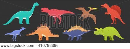 Dinosaurs Vector Set Isolated On Dark. Dinosaurs Animal Predators And Herbivores. Dino Icons Of Tric