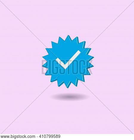 Minimal Blue Verified Icon Isolated On Pastel Pink Background. Creative 3d Effect Vector Illustratio