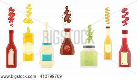 Big Set Of Different Sauces. Wasabi Soy Mustard Ketchup Chili Mayonnaise Sauces Collection. Sauce Bo