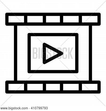 Trim Video Clip Icon. Outline Trim Video Clip Vector Icon For Web Design Isolated On White Backgroun