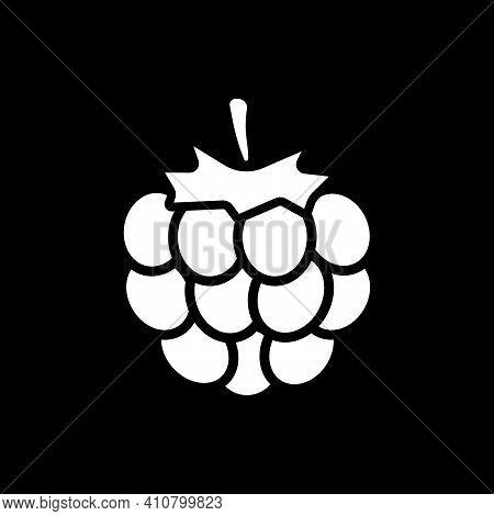 Fresh Raspberry Dark Mode Glyph Icon. Natural Ripe Fruit. Vitamin In Food. Recipe Ingredient. Grocer