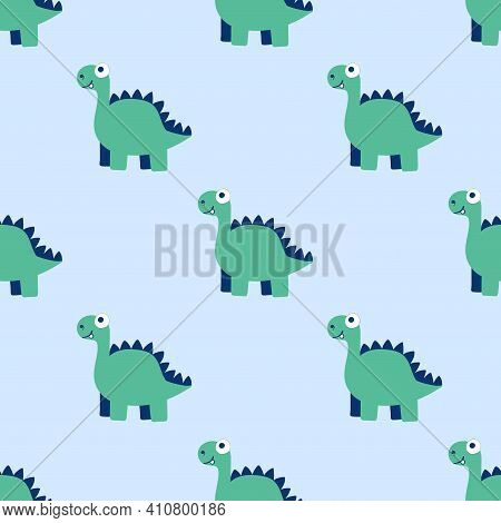 Calm Mood Seamless Pattern With Dinosaurs Vector. Blue And Green Friendly Dino Pattern. Funny Cartoo