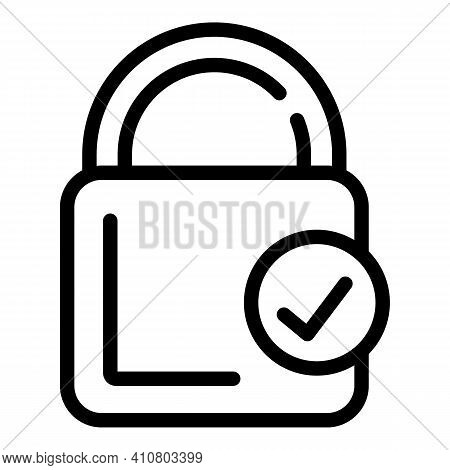 Lock Done Icon. Outline Lock Done Vector Icon For Web Design Isolated On White Background