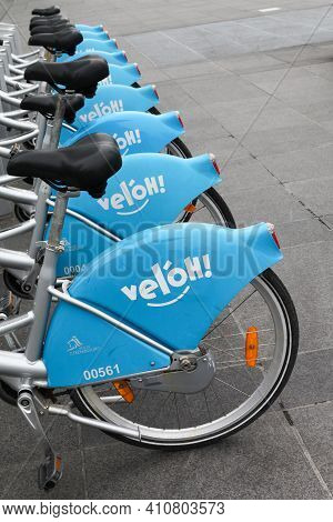 Kirchberg, Luxembourg - April 14, 2012: City Bikes For Rent Parking In Kirchberg, Luxembourg