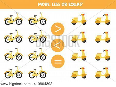 More, Less, Equal With Cartoon Bicycle And Moped.