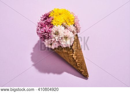 Cute Bouquet Lying On A Pink Background. Beautiful Flower Bouquet In Honor Of March 8, Spring Holida