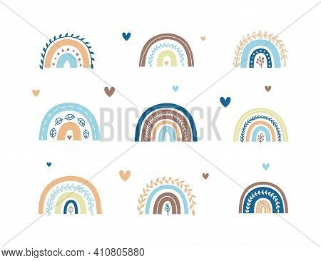 Set Of Scandinavian Leafy Rainbows With Hearts In Pastel Blue Colors For Nursery Posters, Children A
