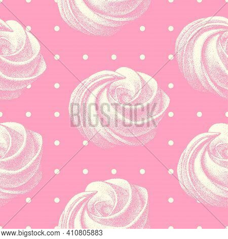 Seamless Pattern With Airy French Cookies Meringues Twirls, Marshmallow, Zephyr. Vector In Graphic V