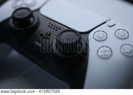 Minsk, Belarus - November 21 2020: Remote Control From The Modern Game Console Sony Playstation 5. I