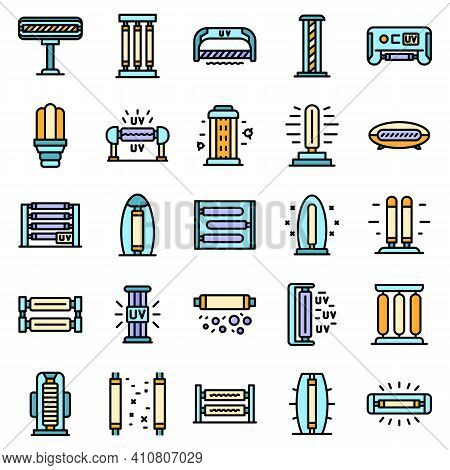 Uv Lamp Icons Set. Outline Set Of Uv Lamp Vector Icons Thin Line Color Flat On White