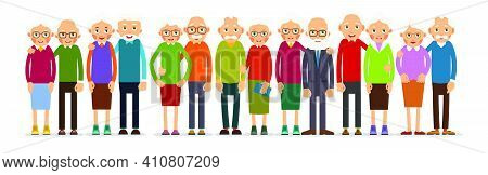 Group Couple Older People. People Stand In Pairs In A Row. Elderly Man And Woman Stand Together And