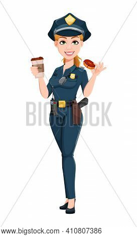 Police Woman In Uniform. Female Police Officer Cartoon Character Having A Coffee Break. Stock Vector