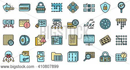 Cipher Icons Set. Outline Set Of Cipher Vector Icons Thin Line Color Flat On White