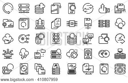 Backups Icons Set. Outline Set Of Backups Vector Icons For Web Design Isolated On White Background