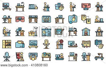 Ergonomic Workplace Icons Set. Outline Set Of Ergonomic Workplace Vector Icons Thin Line Color Flat