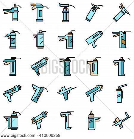 Silicone Caulk Gun Icons Set. Outline Set Of Silicone Caulk Gun Vector Icons Thin Line Color Flat On