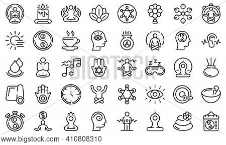 Spiritual Practices Icons Set. Outline Set Of Spiritual Practices Vector Icons For Web Design Isolat