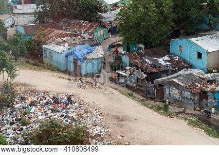 Santo Domingo, Dominican Republic - January 11, 2020: Local People Are In Slum Of Santo Domingo On A