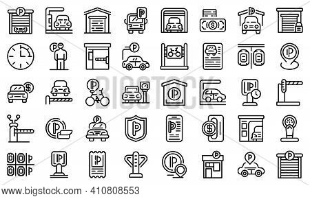 Paid Parking Icons Set. Outline Set Of Paid Parking Vector Icons For Web Design Isolated On White Ba