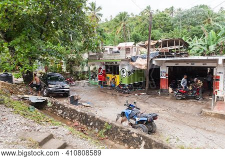 Samana, Dominican Republic - January 7, 2020: Local People On The Street Of Samana District Of Domin