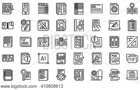 Technical Document Icons Set. Outline Set Of Technical Document Vector Icons For Web Design Isolated