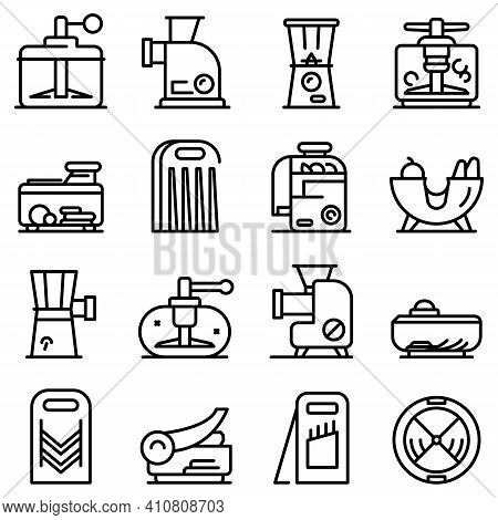 Vegetable Cutter Icons Set. Outline Set Of Vegetable Cutter Vector Icons For Web Design Isolated On