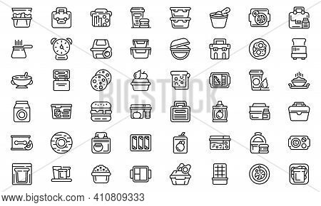 School Breakfast Icons Set. Outline Set Of School Breakfast Vector Icons For Web Design Isolated On