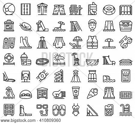Water Park Icons Set. Outline Set Of Water Park Vector Icons For Web Design Isolated On White Backgr