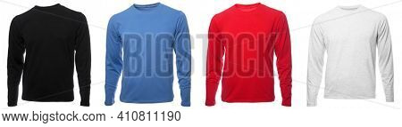 Black blue red and grey heathered plain long sleeved cotton shirt templates on hollow invisible mannequin isolated on a white background