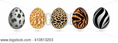 Happy Easter. Collection Of Easter Eggs With Animal Print. Vector Illustration On Isolated Backgroun