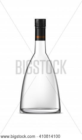 Brandy Cognac Whiskey Glass Bottle Composition With Empty Alcohol Jar On Blank Background Vector Ill