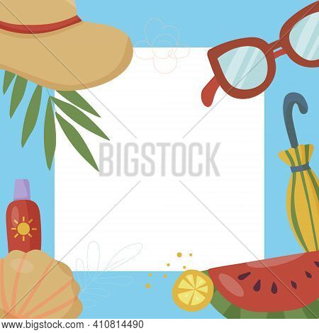 Square Frame For With Things For Summer Vacation And Fruit. Palm Leaves. Vacation And Beach Party Co