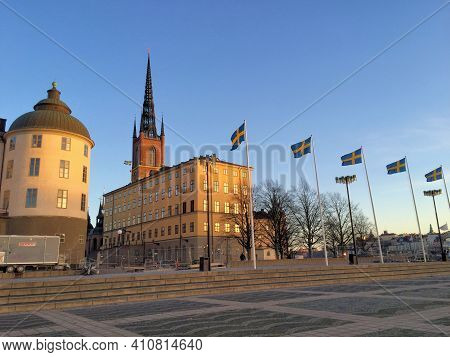 Building On A Square Under A Blue Sky In The City Of Stockholm In Sweden 23.12.2015
