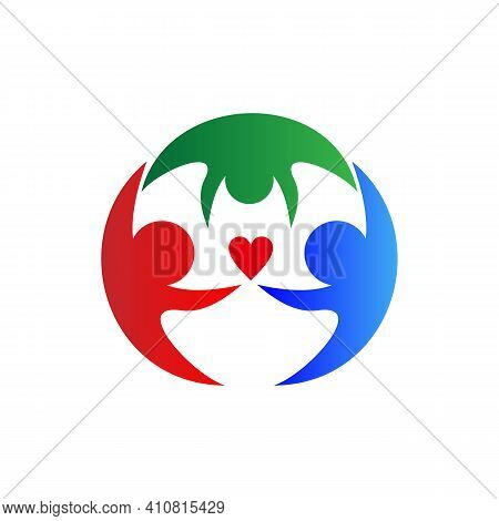 Family Logo Illustration . People Group Family Hug Logo Design Graphic. Abstract Family Logo Templat